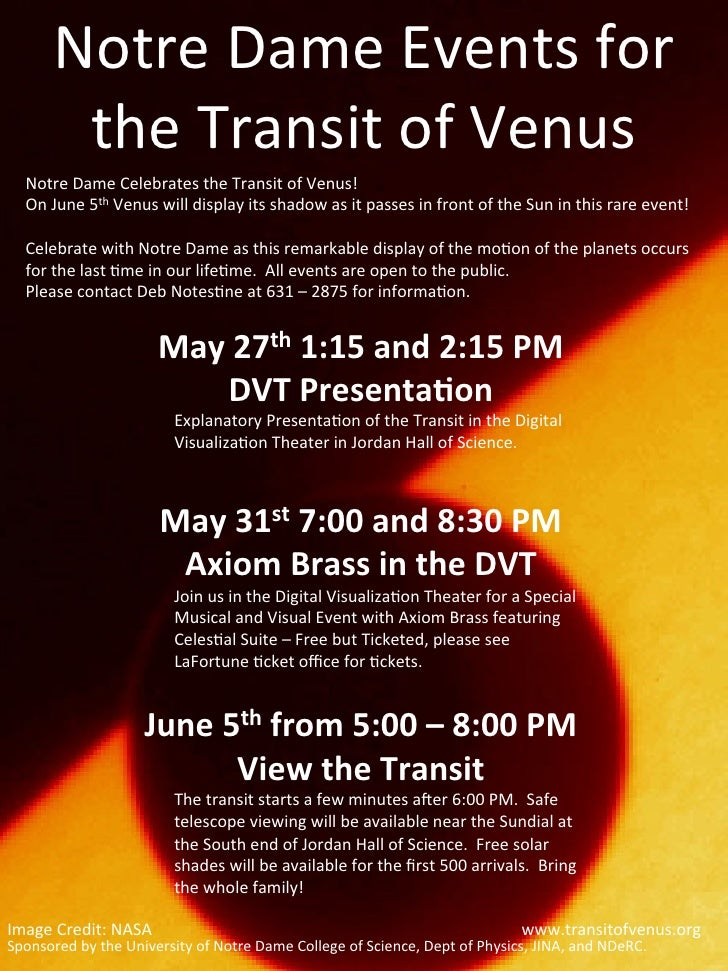 Notre	  Dame	  Events	  for	             the	  Transit	  of	  Venus	      Notre	  Dame	  Celebrates	  the	  Transit	  of	 ...