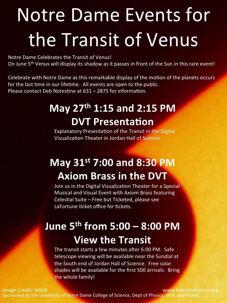 University of Notre Dame Transit of Venus 2012 Activities  poster
