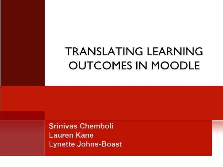 TRANSLATING LEARNING OUTCOMES IN MOODLE
