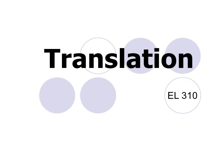 Translation   EL 310