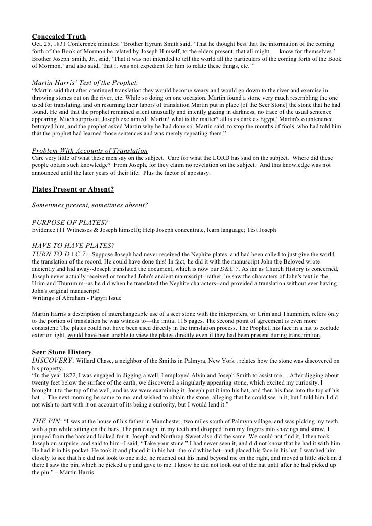 Zone Conference: Translation of The Book of Mormon Notes