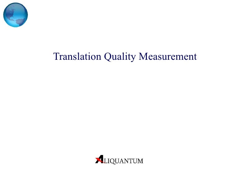 Translation quality measurement2