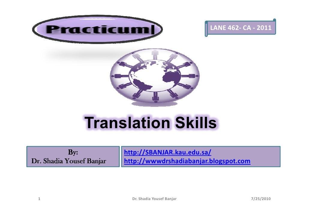 Translation Skills, by Dr. Shadia Y, Banjar