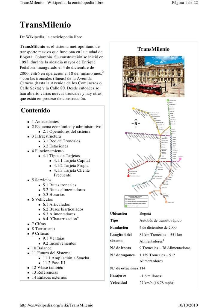 TransMilenio - Wikipedia, la enciclopedia libre                                        Página 1 de 22     TransMilenio De ...