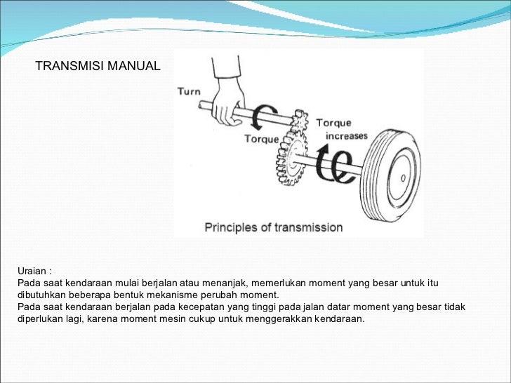 TRANSMISI MANUAL Uraian : Pada saat kendaraan mulai berjalan atau menanjak, memerlukan moment yang besar untuk itu dibutuh...