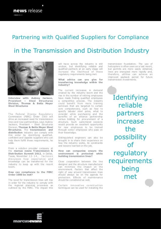 Partnering with Qualified Suppliers for Compliance     in the Transmission and Distribution Industry                      ...