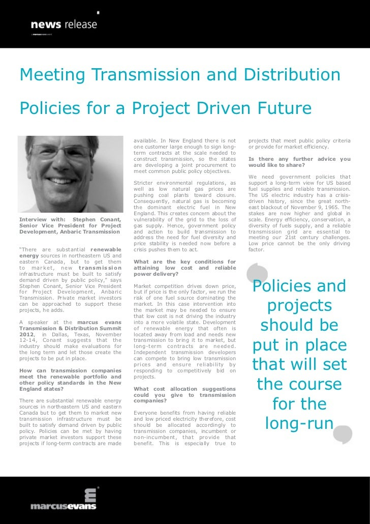Meeting Transmission and Distribution Policies for a Project Driven Future - Interview with: Stephen Conant, Senior Vice President for Project Development, Anbaric Transmission
