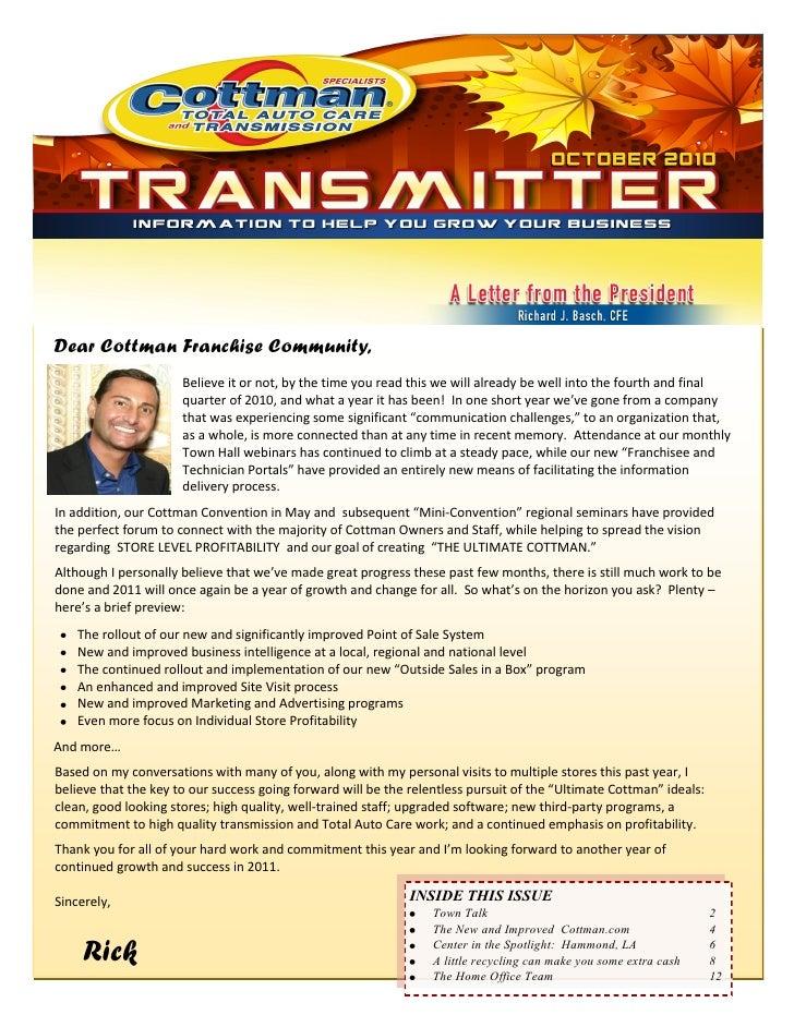 Cottman Internal Newsletter Sample Q3 2010