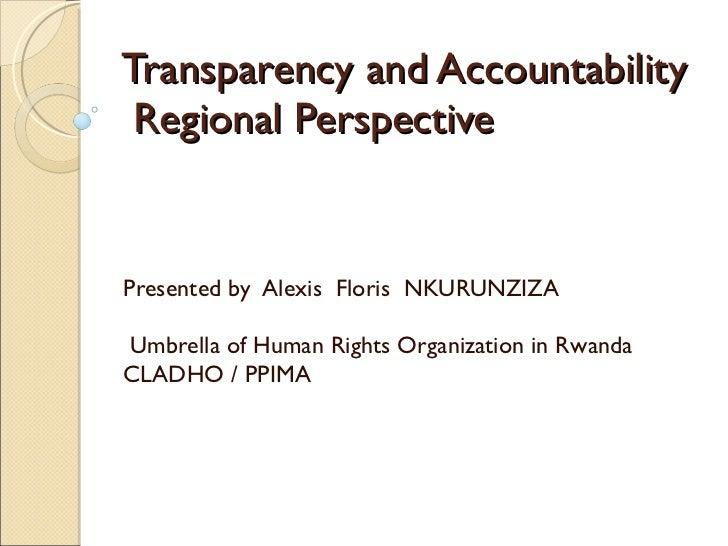 Transparency and accountability regional perspective sodnet rwanda