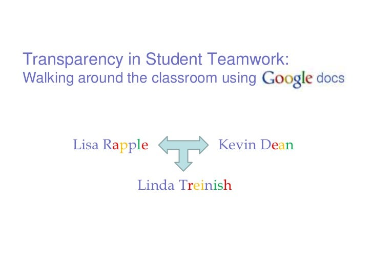 Transparency in Student Teamwork: Walking around the classroom using GoogleDocs<br />Lisa Rapple<br />Kevin Dean<br />Lind...