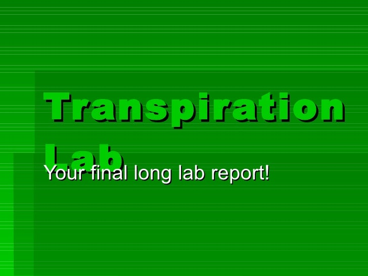 transpiration lab Transpiration lab your final long lab report slideshare uses cookies to improve functionality and performance, and to provide you with relevant advertising if you continue browsing the site, you agree to the use of cookies on this website.