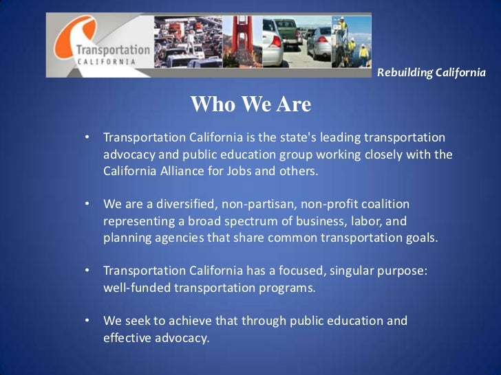 Transportation California: Rebuilding California (Bert Sandman)