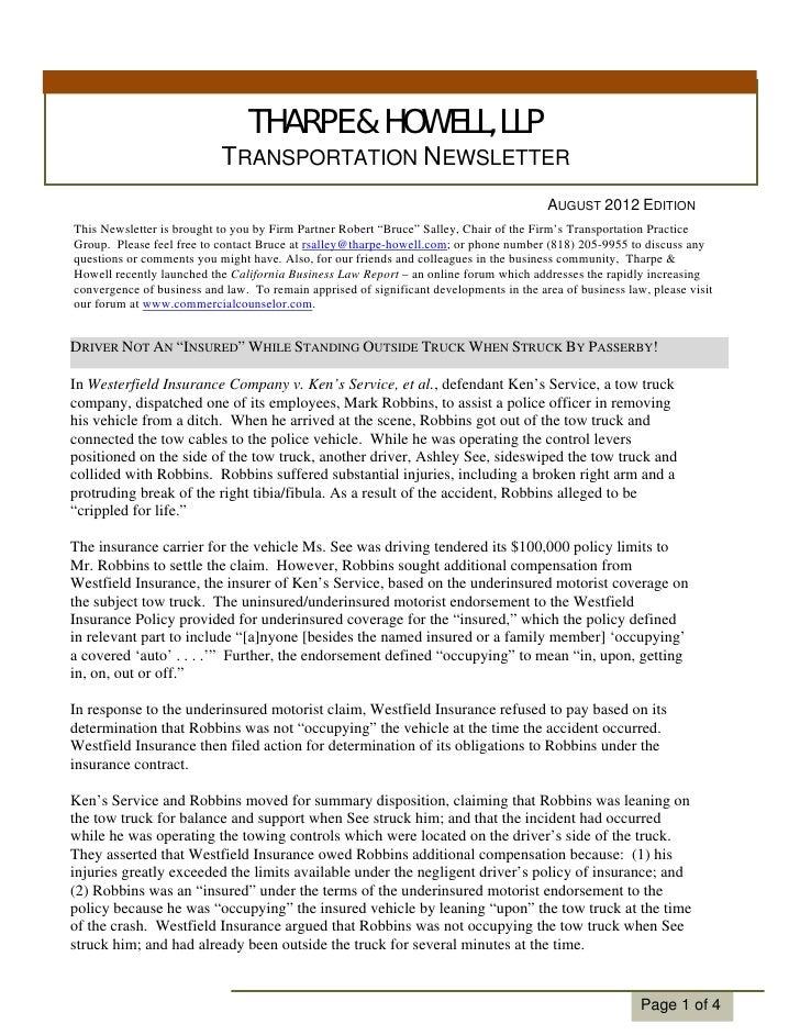 Transportation Law Newsletter