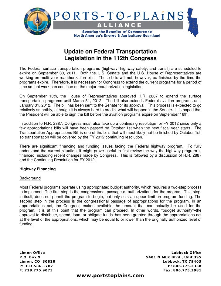 Update on Federal Transportation                          Legislation in the 112th CongressThe Federal surface transportat...