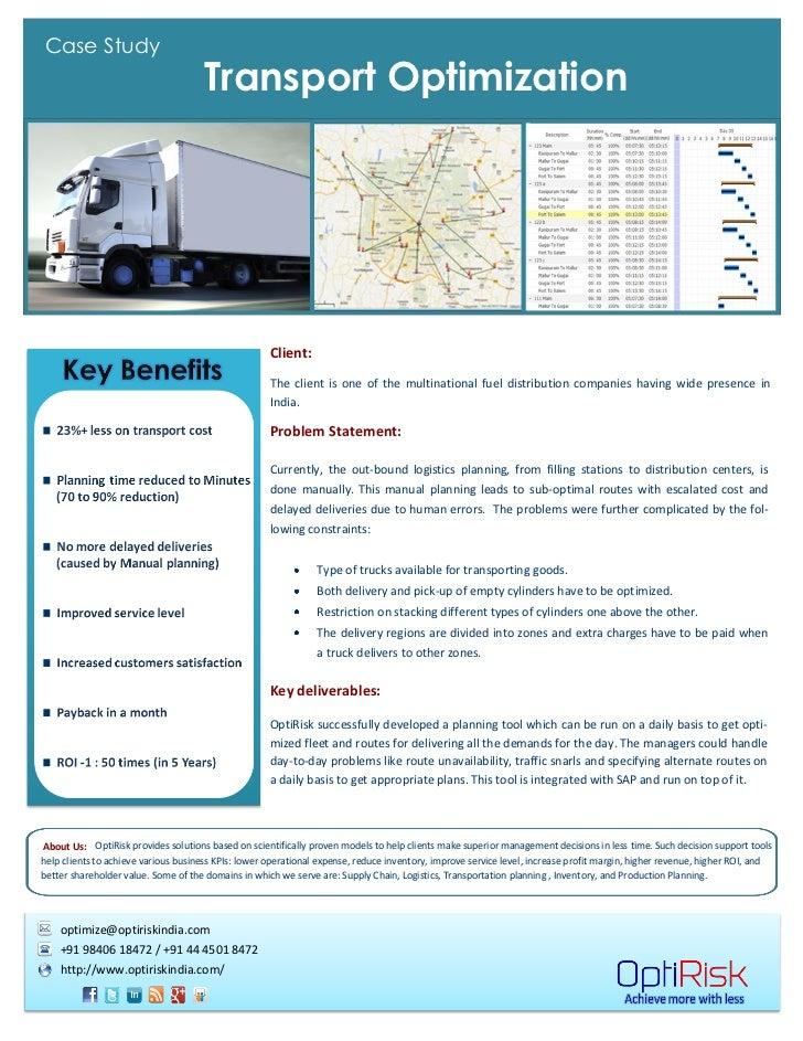 Transportation planner scheduler optimization case study tgnZKJcJ