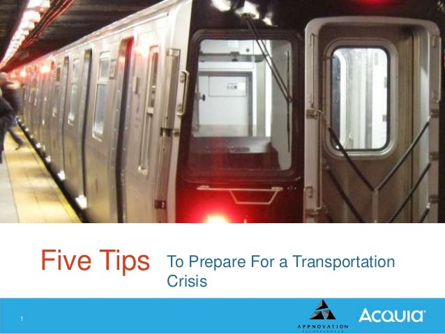 Five Tips 1  To Prepare For a Transportation Crisis