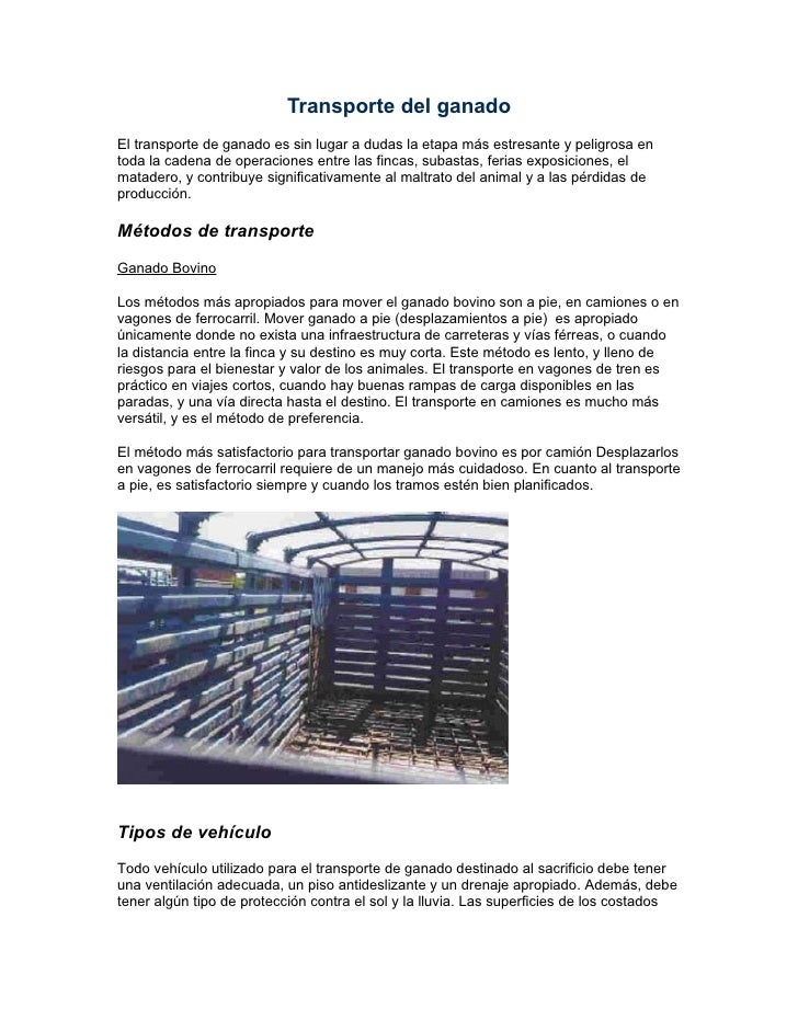 Transporte del ganado msd antiparasitarios finca productiva