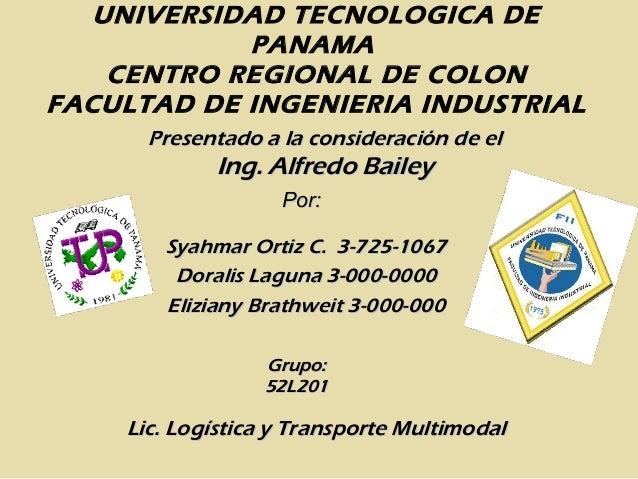 UNIVERSIDAD TECNOLOGICA DE PANAMA CENTRO REGIONAL DE COLON FACULTAD DE INGENIERIA INDUSTRIAL Presentado a la consideración...