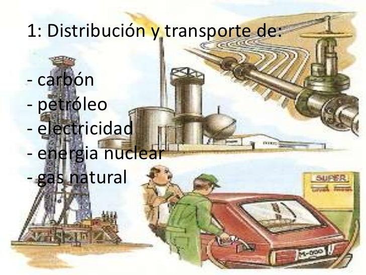 1: Distribución y transporte de:- carbón - petróleo- electricidad- energia nuclear - gas natural<br />