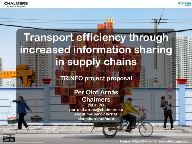 Transport efficiency through increased information sharing in supply chains !  TRINFO project proposal !  Per Olof Arnäs C...