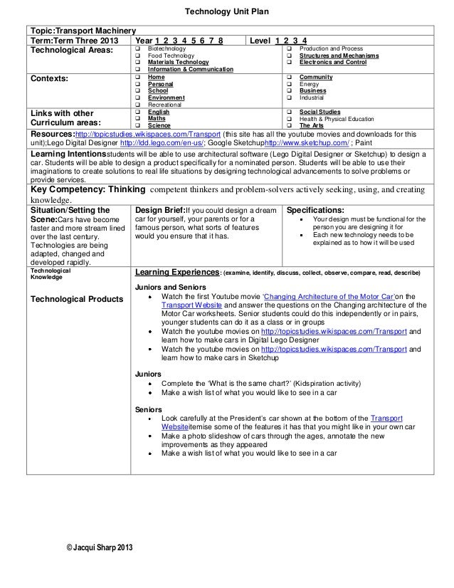 © Jacqui Sharp 2013 Technology Unit Plan Topic:Transport Machinery Term:Term Three 2013 Year 1 2 3 4 5 6 7 8 Level 1 2 3 4...