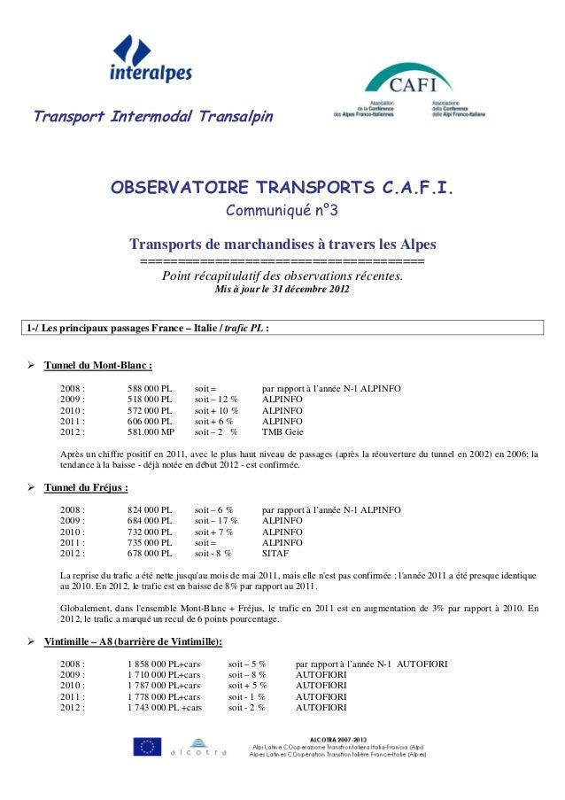 Transport Intermodal Transalpin                    OBSERVATOIRE TRANSPORTS C.A.F.I.                                       ...