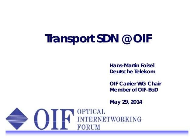 Transport SDN @ OIF