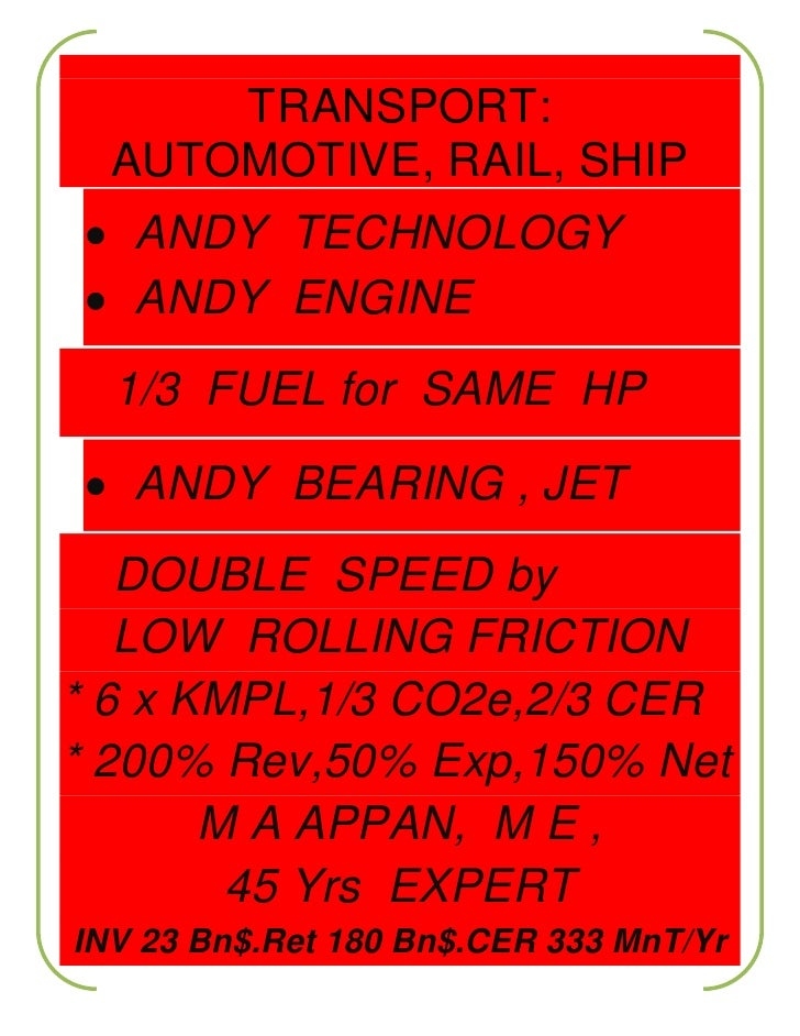 <ul><li>TRANSPORT:AUTOMOTIVE, RAIL, SHIP  ANDY  TECHNOLOGY  ANDY  ENGINE    1/3  FUEL for  SAME  HP  ANDY  BEARING , JET  ...