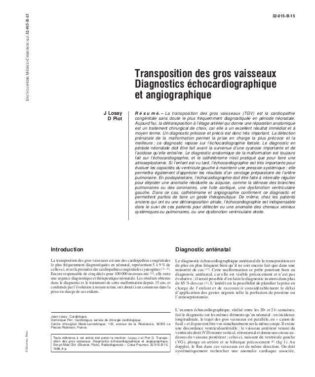 32-015-B-15  Transposition des gros vaisseaux  Diagnostics échocardiographique  et angiographique  J Losay  D Piot  R é s ...