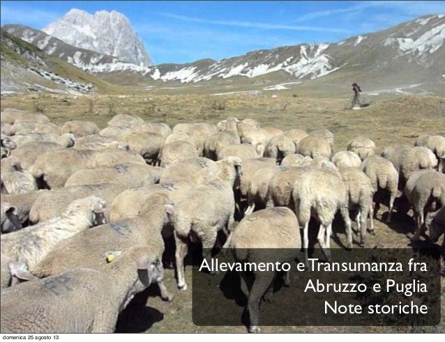 Allevamento e Transumanza fra Abruzzo e Puglia Note storiche domenica 25 agosto 13