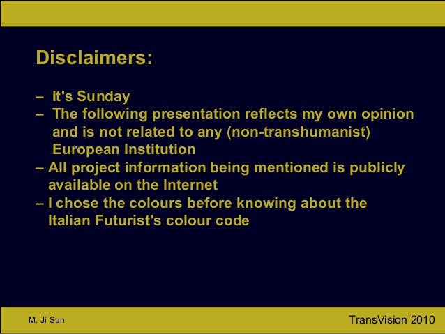 TransVision 2010M. Ji Sun Disclaimers: – It's Sunday – The following presentation reflects my own opinion and is not relat...