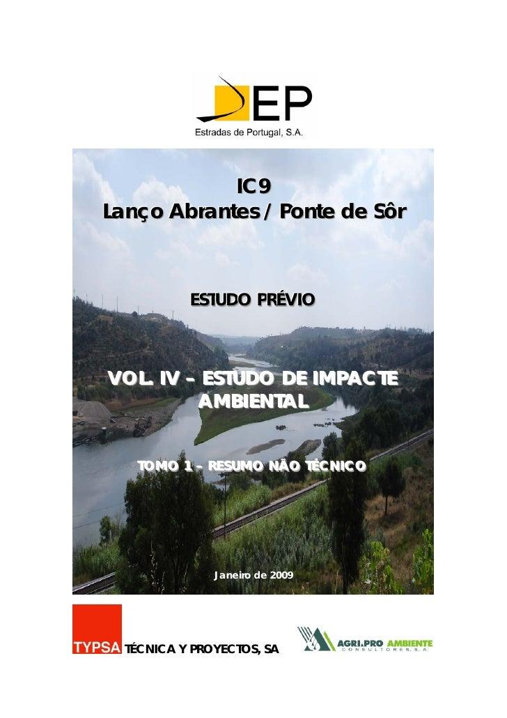 IC9 Lanço Abrantes / Ponte de Sôr                ESTUDO PRÉVIIO             ESTUDO PRÉV O    VOL. IV – ESTUDO DE IMPACTE  ...