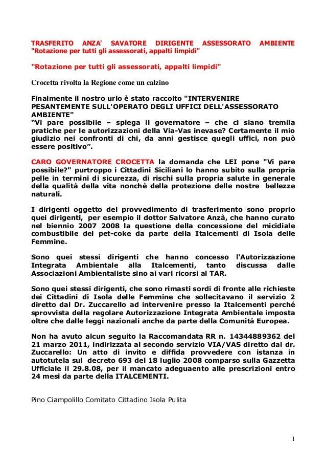 """1 TRASFERITO ANZA' SAVATORE DIRIGENTE ASSESSORATO AMBIENTE """"Rotazione per tutti gli assessorati, appalti limpidi"""" """"Rotazio..."""