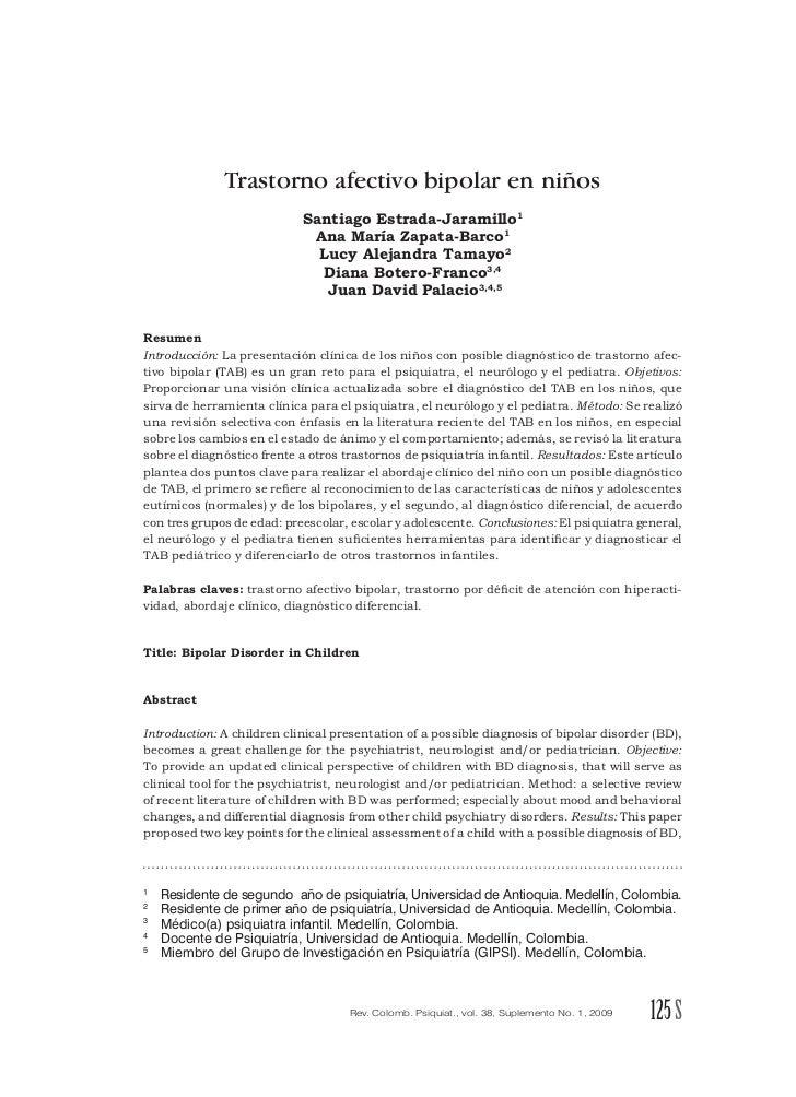 Trastorno afectivo bipolar en niños                            Santiago Estrada-Jaramillo                             Ana ...