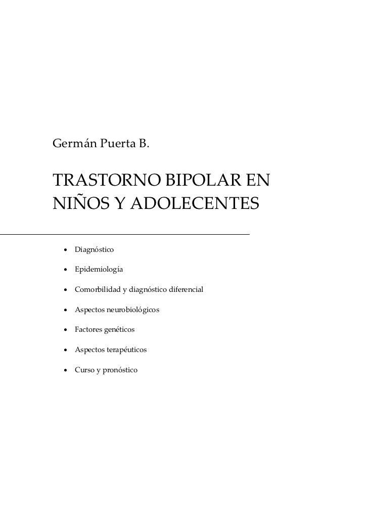 GermánPuertaB.TRASTORNOBIPOLARENNIÑOSYADOLECENTES · Diagnóstico · Epidemiología · Comorbilidadydiagnósticodi...
