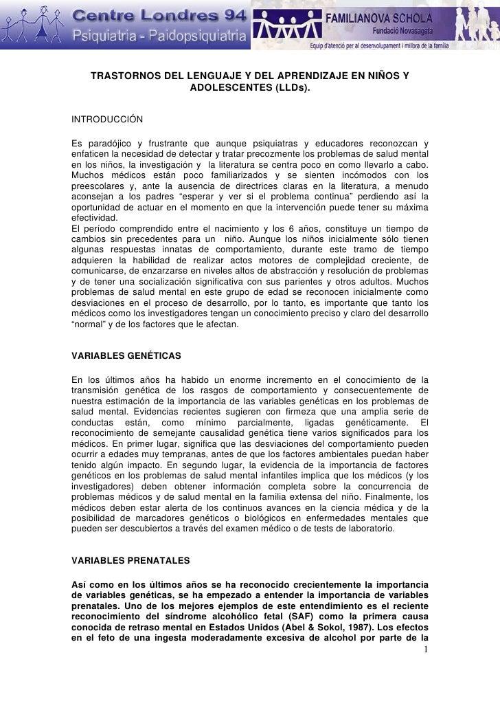 TRASTORNOS DEL LENGUAJE Y DEL APRENDIZAJE EN NIÑOS Y                   ADOLESCENTES (LLDs).INTRODUCCIÓNEs paradójico y fru...