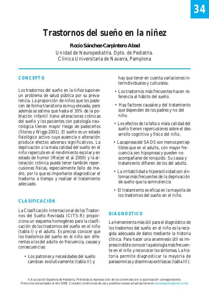 34                 Trastornos del sueño en la niñez                                 Rocío Sánchez-Carpintero Abad         ...