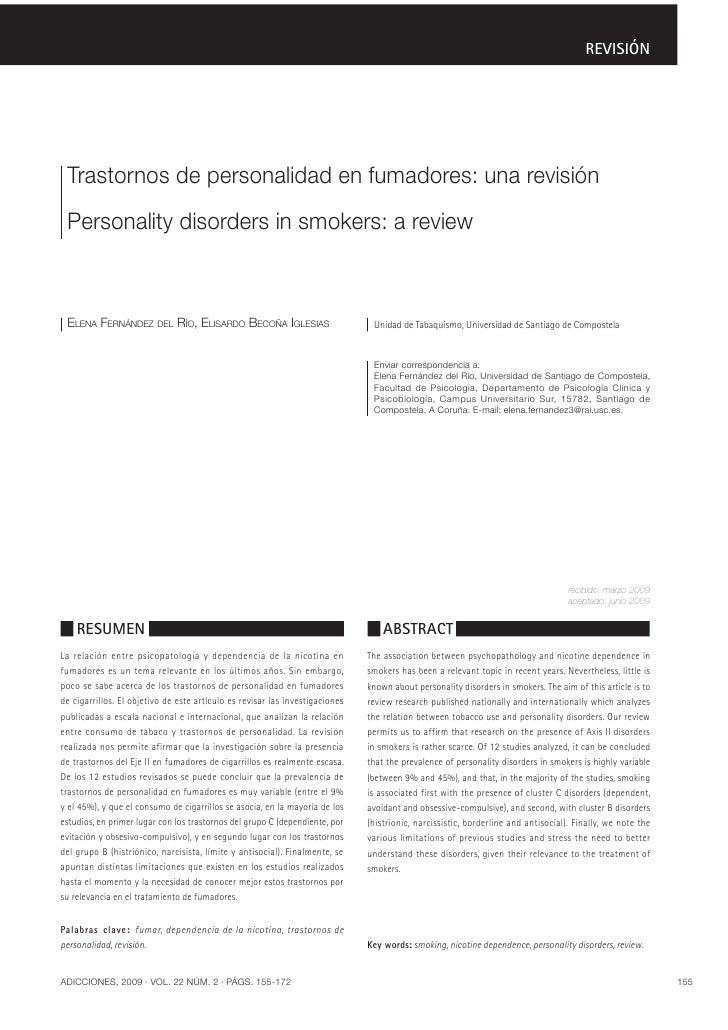 REVISIÓN Trastornos de personalidad en fumadores: una revisión Personality disorders in smokers: a review ELENA FERNÁNDEZ ...