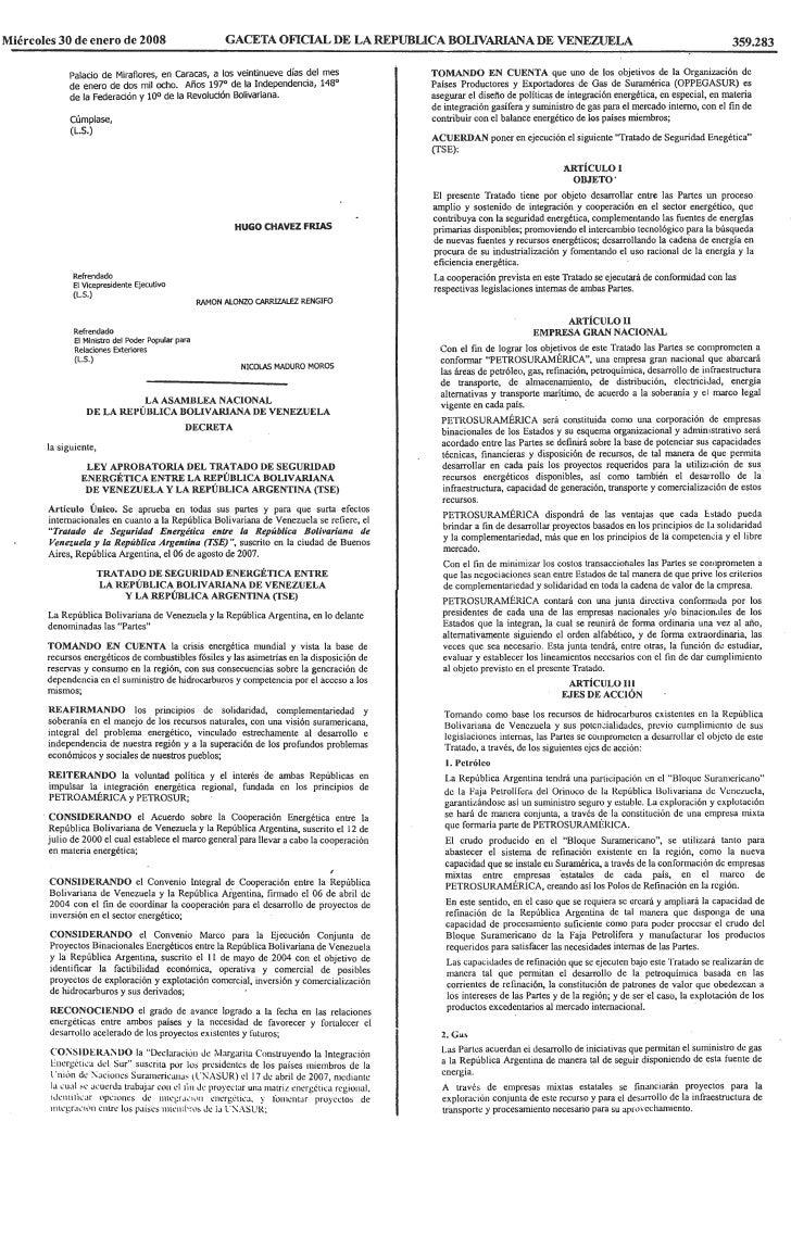 Tratado De Seguridad EnergéTica Entre La RepúBlica Bolivariana De Venezuela Y La RepúBlica Argentina