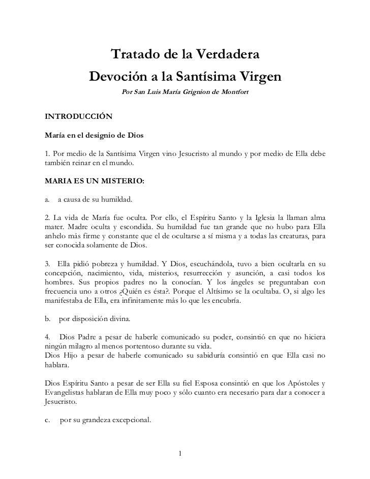TRATADO DE LA VERDADERA DEVOCIÓN A LA VIRGEN MARÍA- S.LUIS M. GRIGNON DE MONTFORT