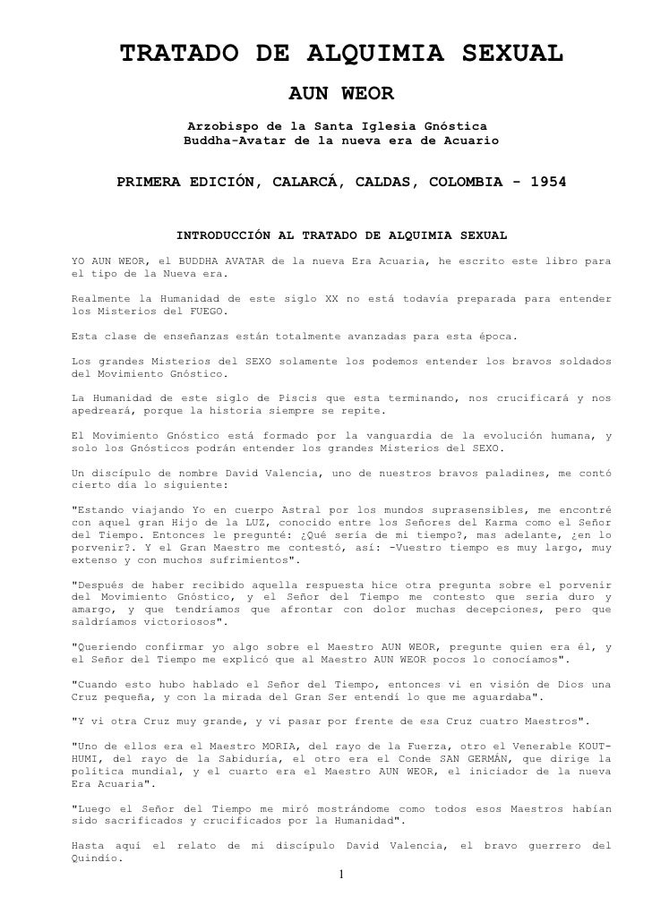 TRATADO DE ALQUIMIA SEXUAL                                        AUN WEOR                     Arzobispo de la Santa Igles...