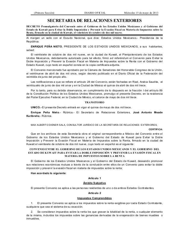 (Primera Sección) DIARIO OFICIAL Miércoles 15 de mayo de 2013SECRETARIA DE RELACIONES EXTERIORESDECRETO Promulgatorio del ...