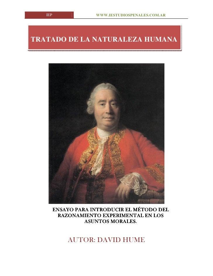 Tratado Naturaleza Humana. www.iestudiospenales.com.ar