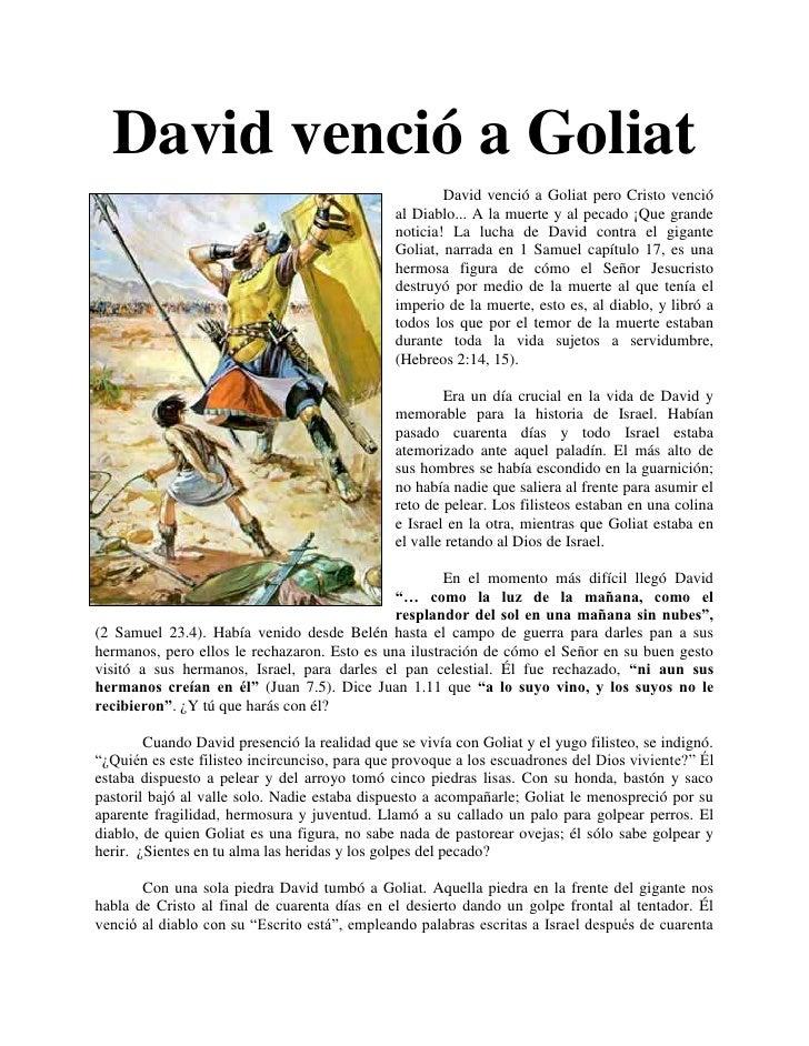 David venció a Goliat                                                       David venció a Goliat pero Cristo venció      ...