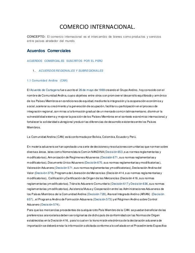 COMERCIO INTERNACIONAL. CONCEPTO: El comercio internacional es el intercambio de bienes como productos y servicios entre p...