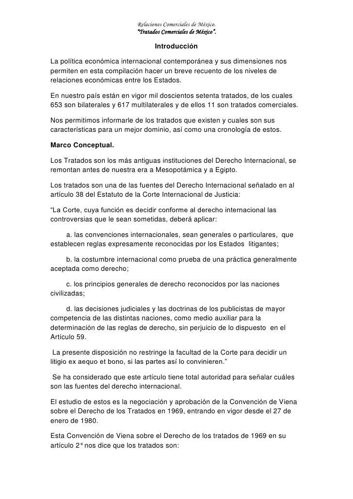"""Relaciones Comerciales de México.                            """"Tratados Comerciales de México"""".                            ..."""