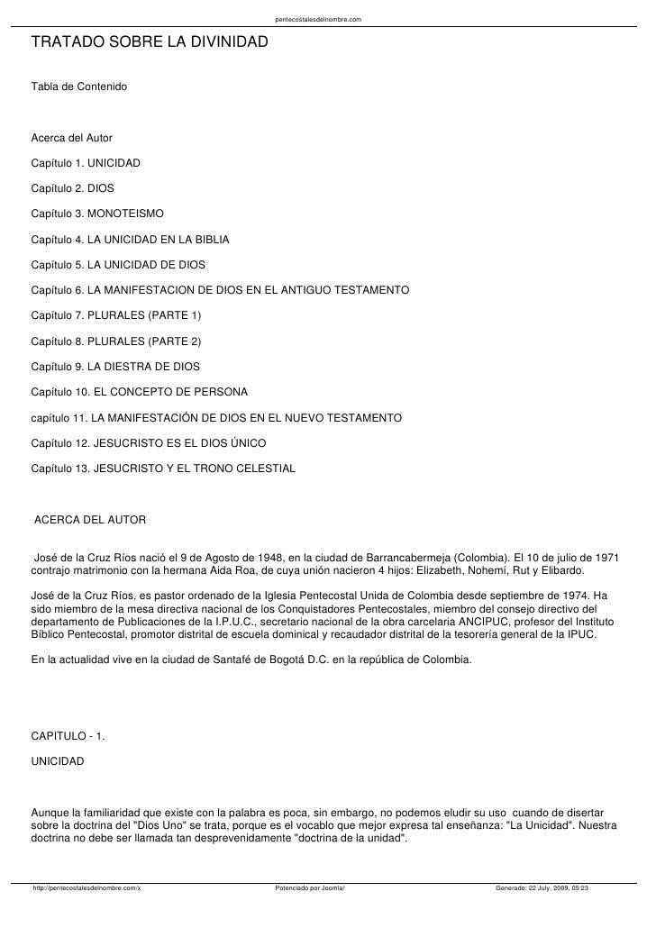 pentecostalesdelnombre.com   TRATADO SOBRE LA DIVINIDAD  Tabla de Contenido    Acerca del Autor  Capítulo 1. UNICIDAD  Cap...