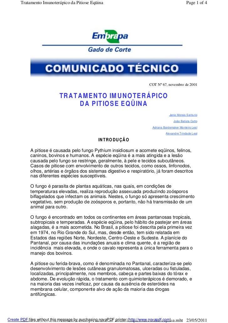 Tratamento Imunoterápico da Pitiose Eqüina                                                    Page 1 of 4                 ...