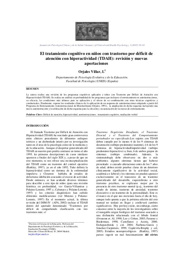 Anuario de Psicología Clínica y de la Salud / Annuary of Clinical and Health Psychology, 3 (2007) 19-30El tratamiento cogn...