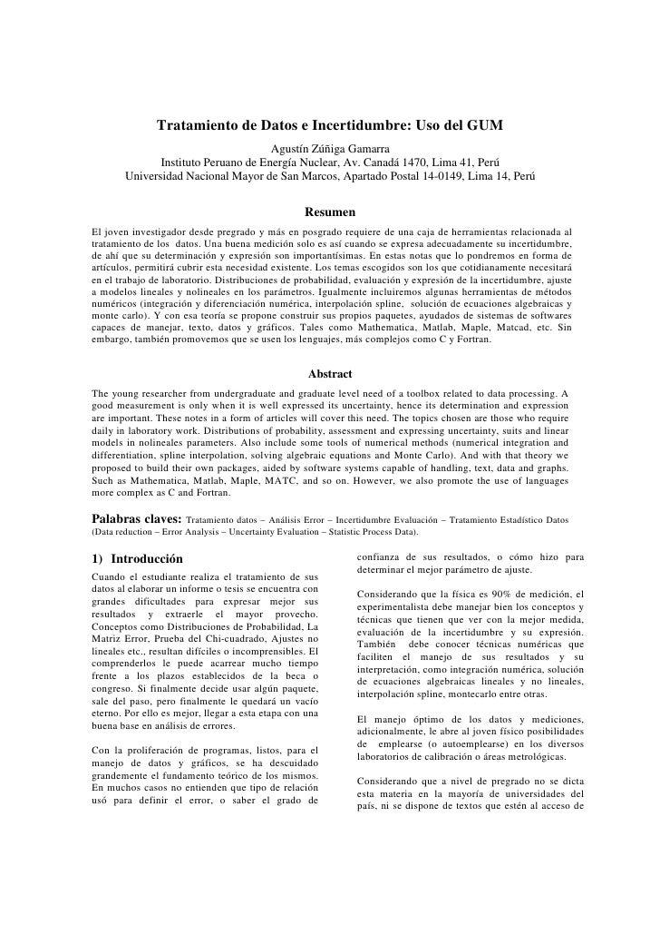 Tratamiento de Datos e Incertidumbre: Uso del GUM                                       Agustín Zúñiga Gamarra            ...